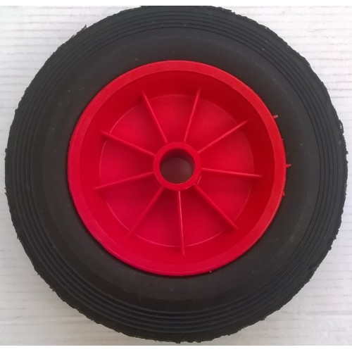 10 Quot 250mm Red Plastic Wheel With 25mm Bore Solid Rubber Tyre